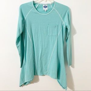 Dg2 by Diane Gilman Striped Long Sleeved Yoga Top